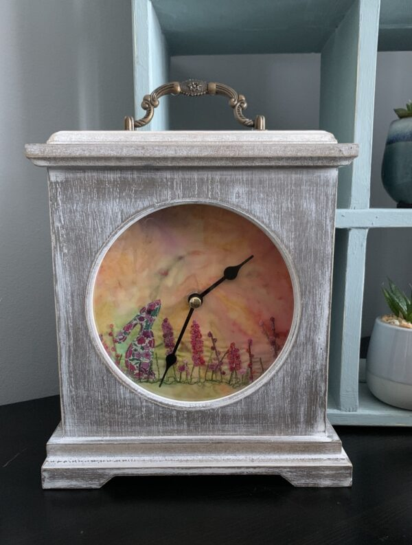 Floral Hare Embroidered Wooden Clock