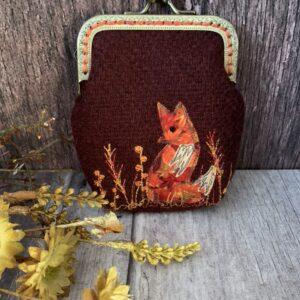 Burgundy Harris Tweed Fox Purse