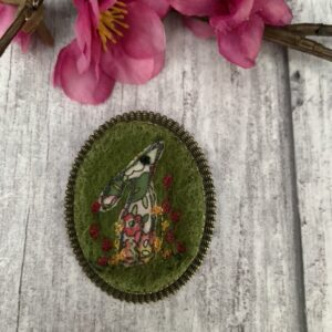 Green Embroidered Liberty Hare Brooch