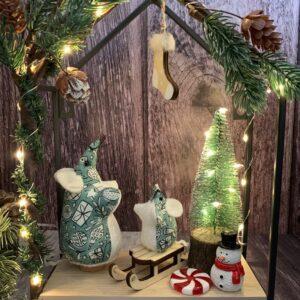 Christmas Mouse Scene Decoration