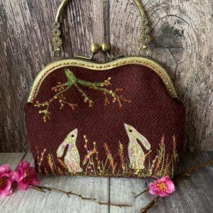 Burgundy Harris Tweed Hare Bag